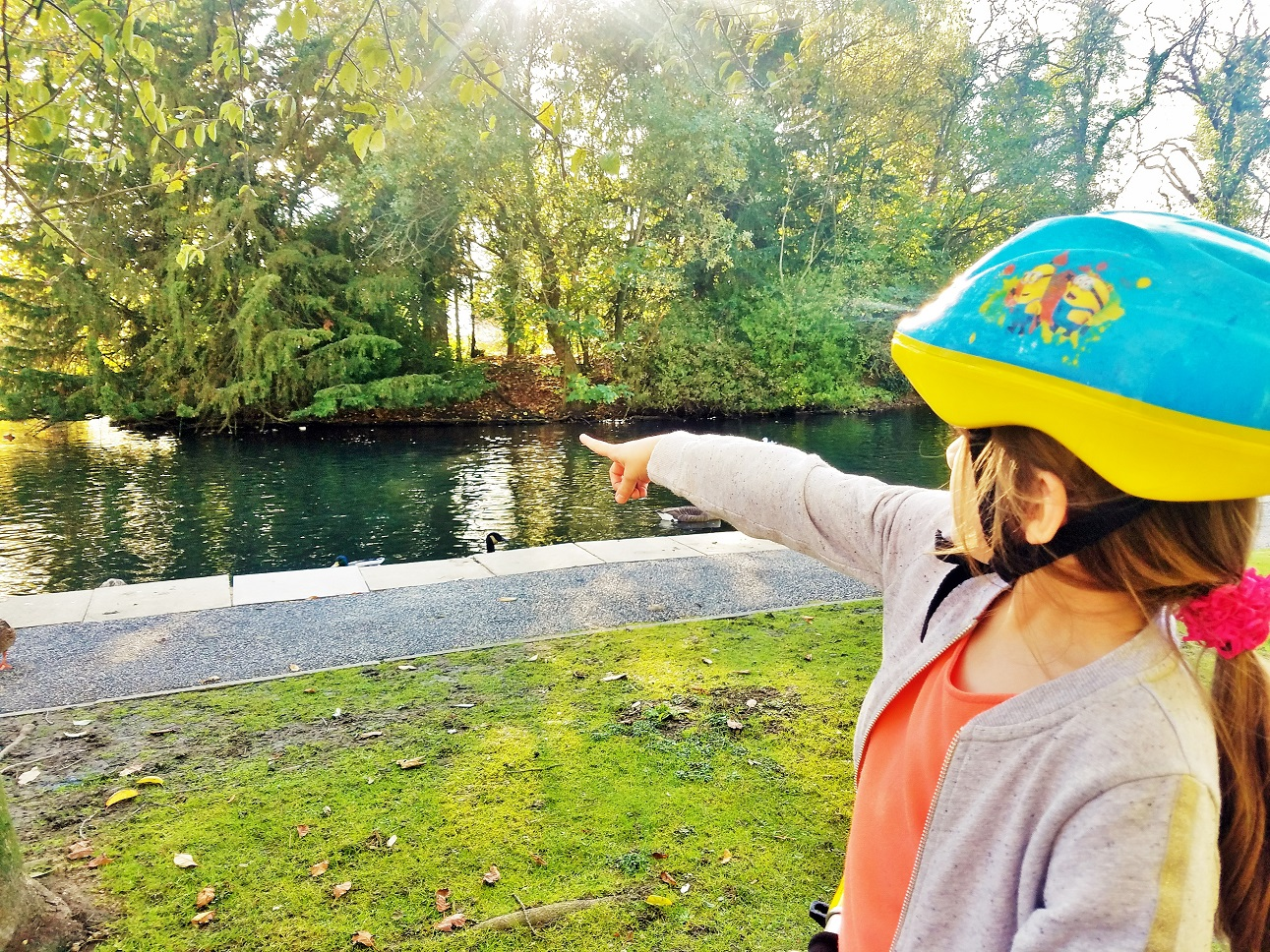 Hidden Issues like tiredness and worry can affect children's behaviour - child in minions helmet pointing at ducks