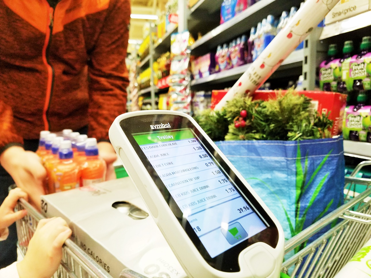scan and go device in trolley