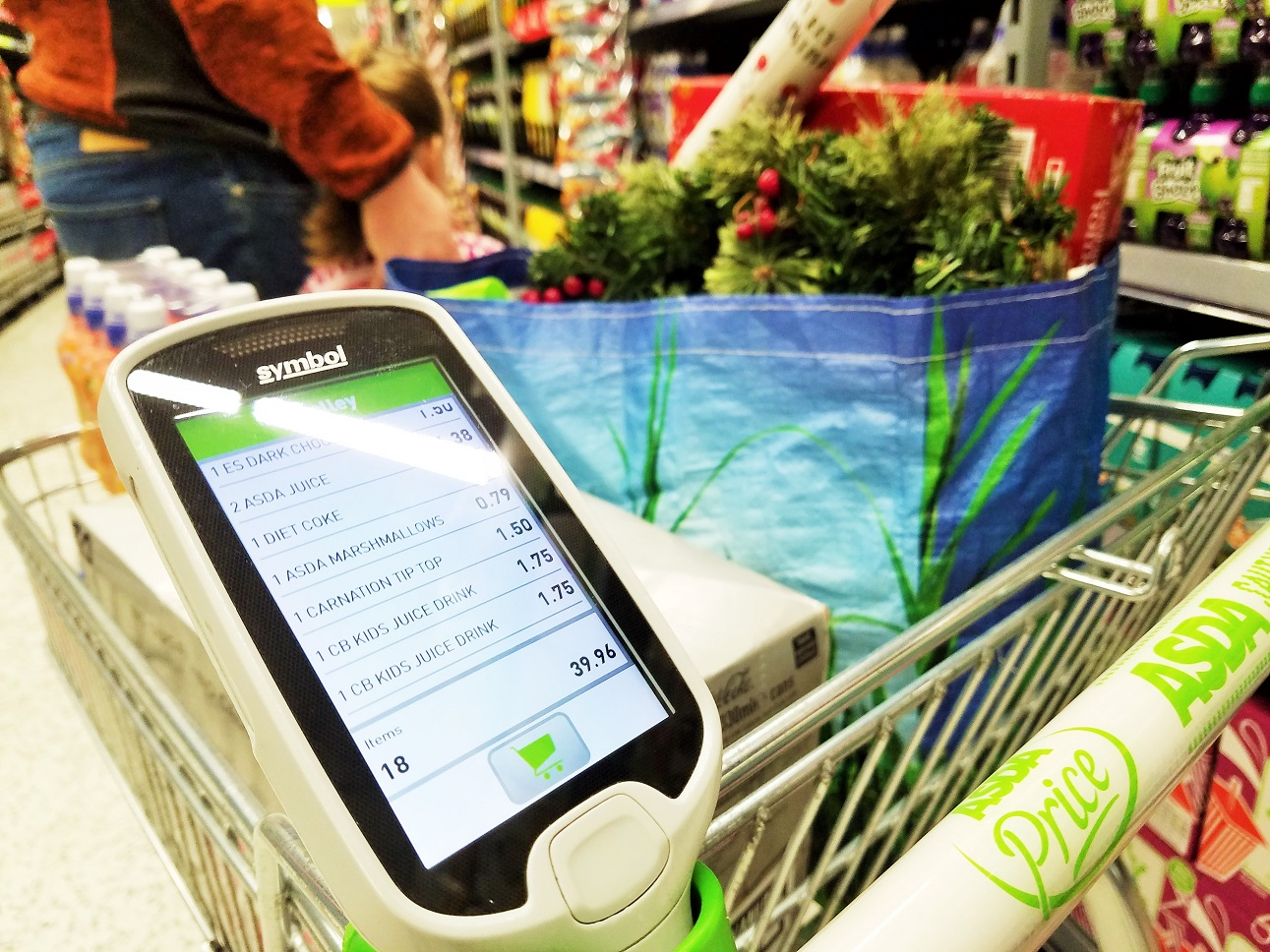 scan and go holder on trolley asda