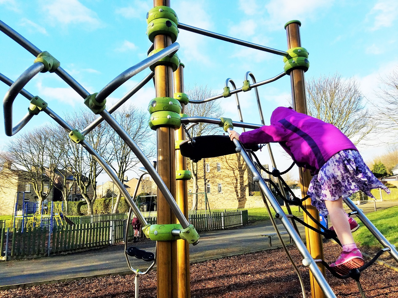 time out and gentle parenting child on climbing frame