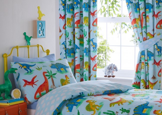 Yorkshire Linen Company Dinosaur bedroom with colourful dinosaur curtains